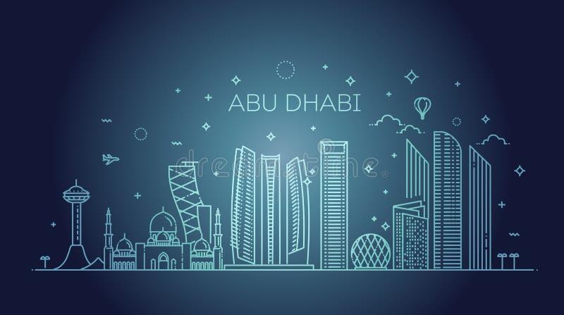 Abu Dhabi stadslinje konstvektorillustration med alla berömda byggnader cityscape royaltyfri illustrationer
