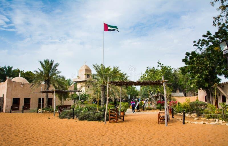 Abu Dhabi, UAE - April 27, 2018: Abu dhabi heritage village scene at day time. Abu Dhabi, UAE - April 27, 2018: Abu dhabi heritage village scene with many royalty free stock image