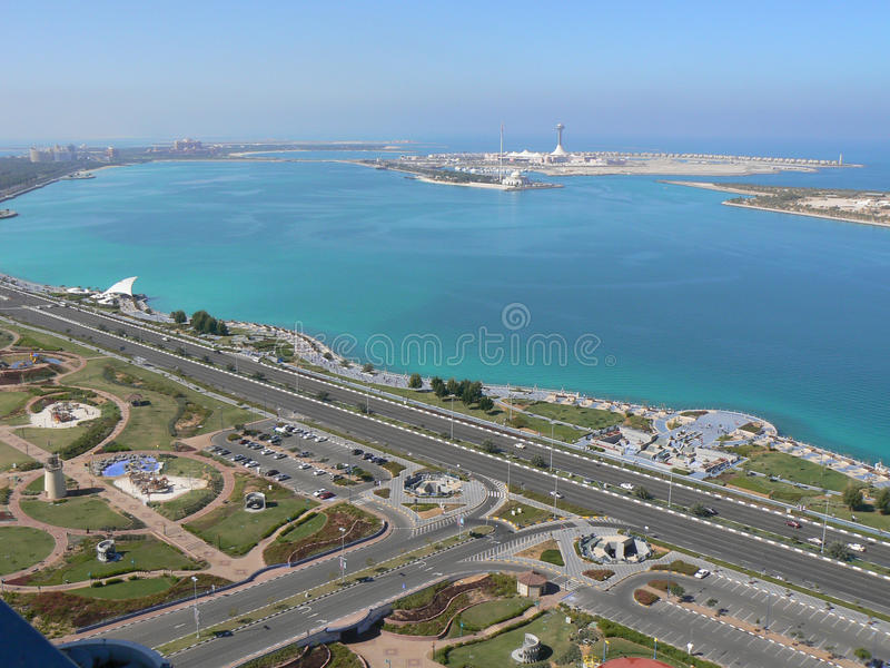 Abu Dhabi, United Arab Emirates. Aerial view of the coast of Abu Dhabi and Gulf waters, in the United Arab Emirates before the Gulf country was developed and royalty free stock image