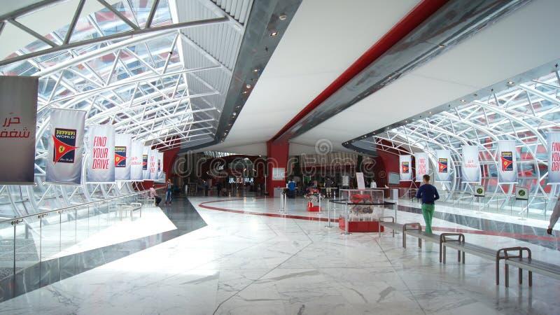 ABU DHABI, UNITED ARAB EMIRATES - APRIL 4th, 2014: Ferrari World Theme Park entrance hall interior stock photo