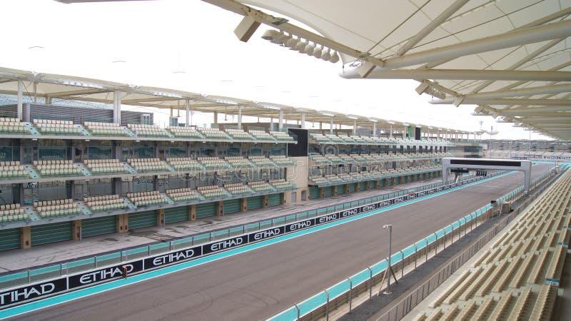 ABU DHABI, UNITED ARAB EMIRATES - APRIL 4th, 2014: The Yas Marina Formula 1 Grand Prix Circuit. Set amongst a Marina. With an innovative design. The circuit is stock image