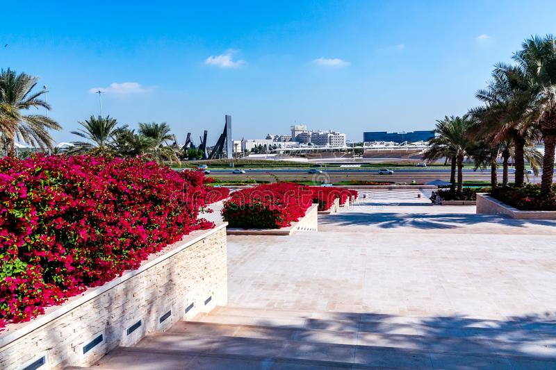 Abu Dhabi, United Arab Emirates - December 13, 2018: Elements of improvement in the Park in front of the Grand mosque royalty free stock images