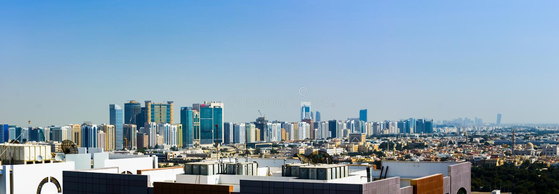 Abu Dhabi, United Arab Emirates - January 27, 2018: Panoramic vi stock photos