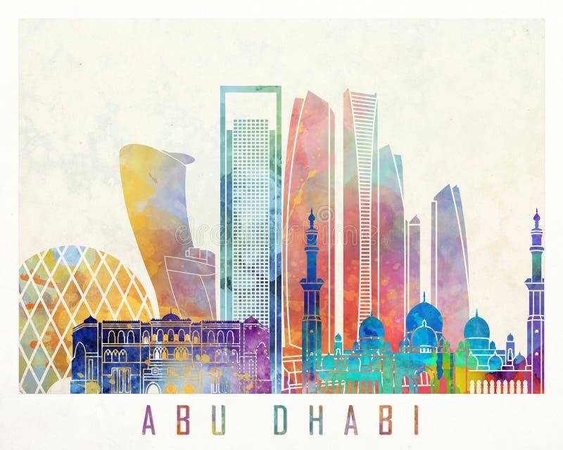 Abu Dhabi V2 landmarks watercolor poster royalty free illustration