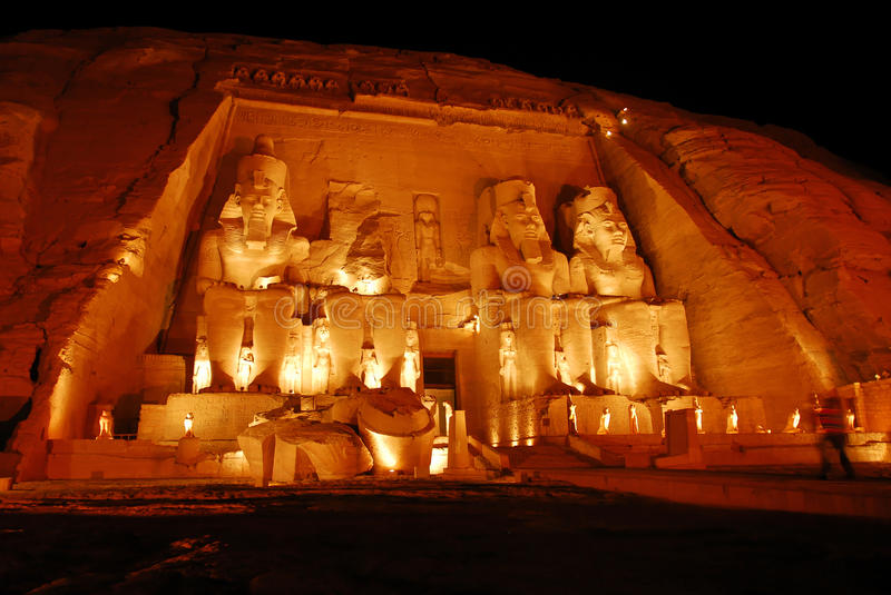 Abu Simbel. Great Temple, Egypt, Africa. It was constructed for the pharaoh Ramesses II who reigned for 67 years during the 13th century BC (19th Dynasty stock photo