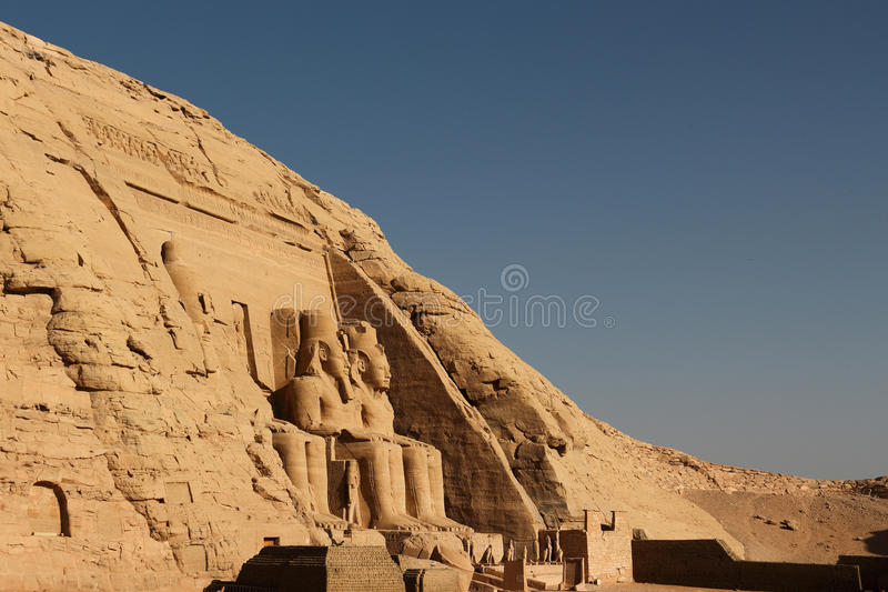 Abu Simbel Temple in Egypt. Due to the large increase in population in the 20th century, Egypt and the Sudan government decided to build a new dam in order to royalty free stock images