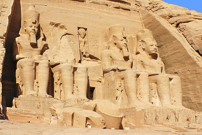 The Abu Simbel temples. Are two massive rock temples in Abu Simbel in Nubia, southern Egypt.The complex is part of the UNESCO World Heritage Site known as the royalty free stock photography