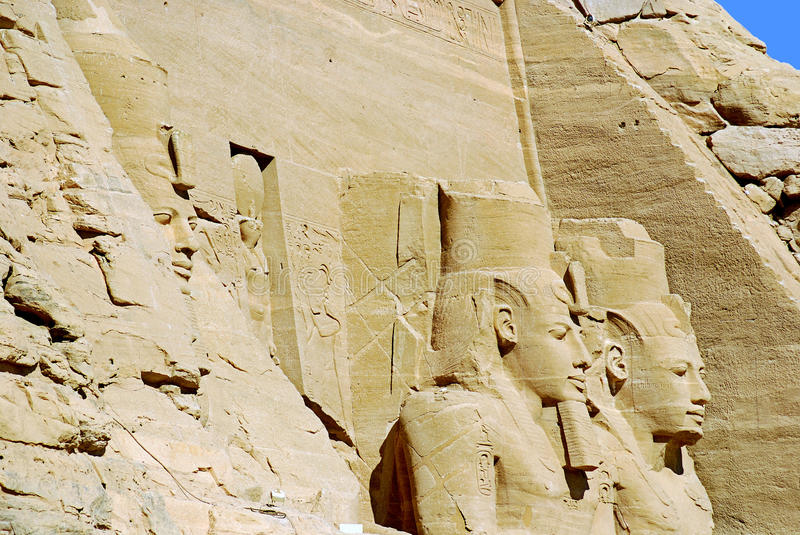The Abu Simbel temples. Are two massive rock temples in Abu Simbel in Nubia, southern Egypt.The complex is part of the UNESCO World Heritage Site known as the stock image