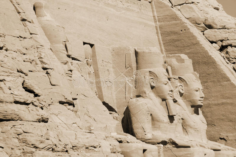 The Abu Simbel temples. Are two massive rock temples in Abu Simbel in Nubia, southern Egypt.The complex is part of the UNESCO World Heritage Site known as the stock images