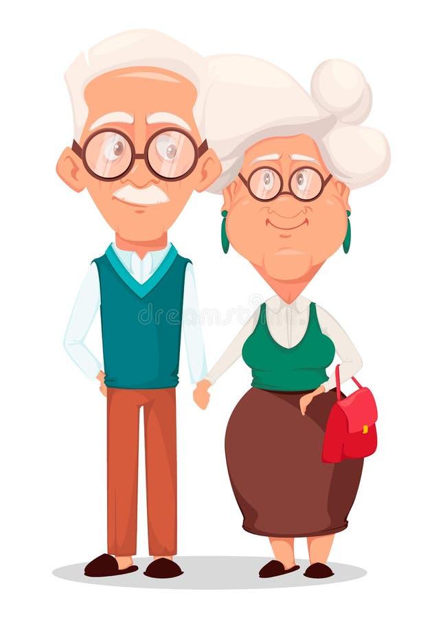 Abuela cana y abuelo que llevan a cabo las manos de uno a stock de ilustración