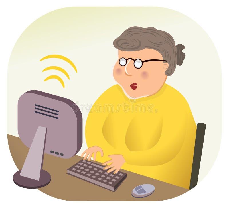 Abuela computacional del Internet sin hilos libre illustration