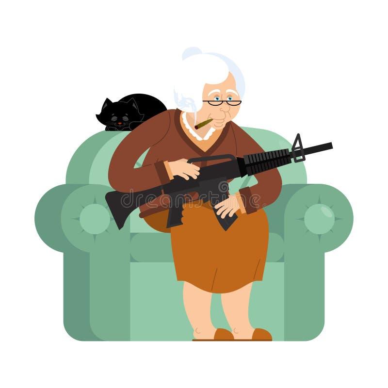 Abuela con el arma mujer mayor en una butaca con la ametralladora stock de ilustración
