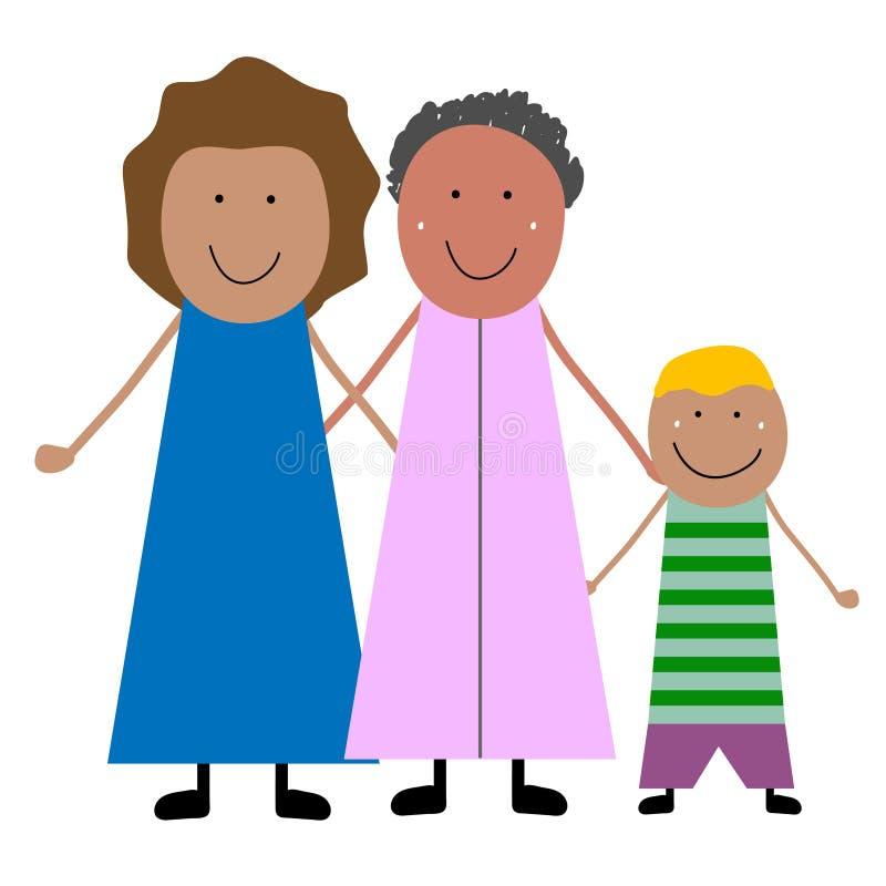 Abuela con la hija y el nieto libre illustration