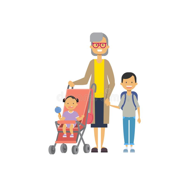 Abuela con los nietos del bebé en cochecito, familia multi de la generación, avatar integral en el fondo blanco libre illustration