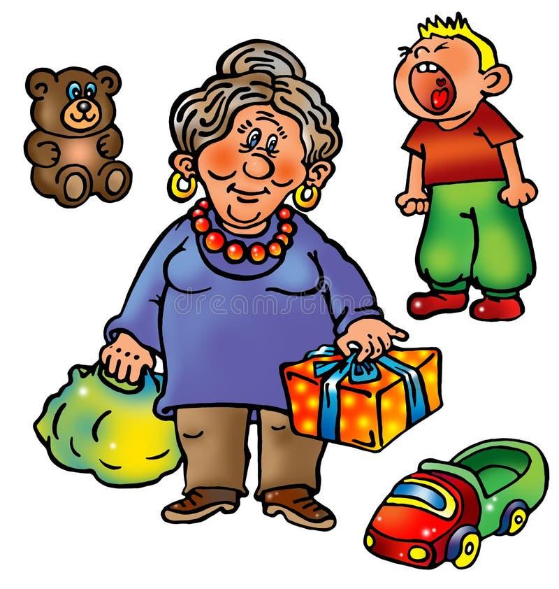 Abuela con los presentes y nieto travieso libre illustration
