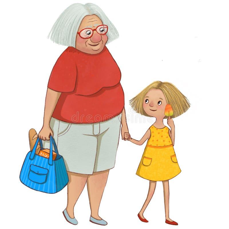 Abuela con su caminar de la nieta libre illustration