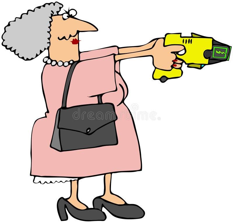 Abuela con un arma de atontamiento stock de ilustración