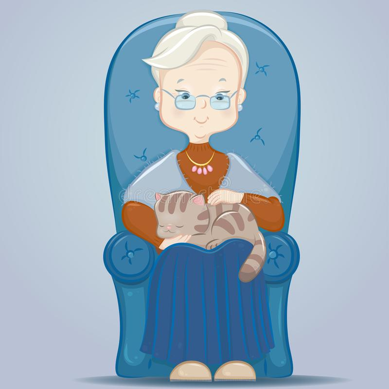 Abuela con un gato en una silla stock de ilustración