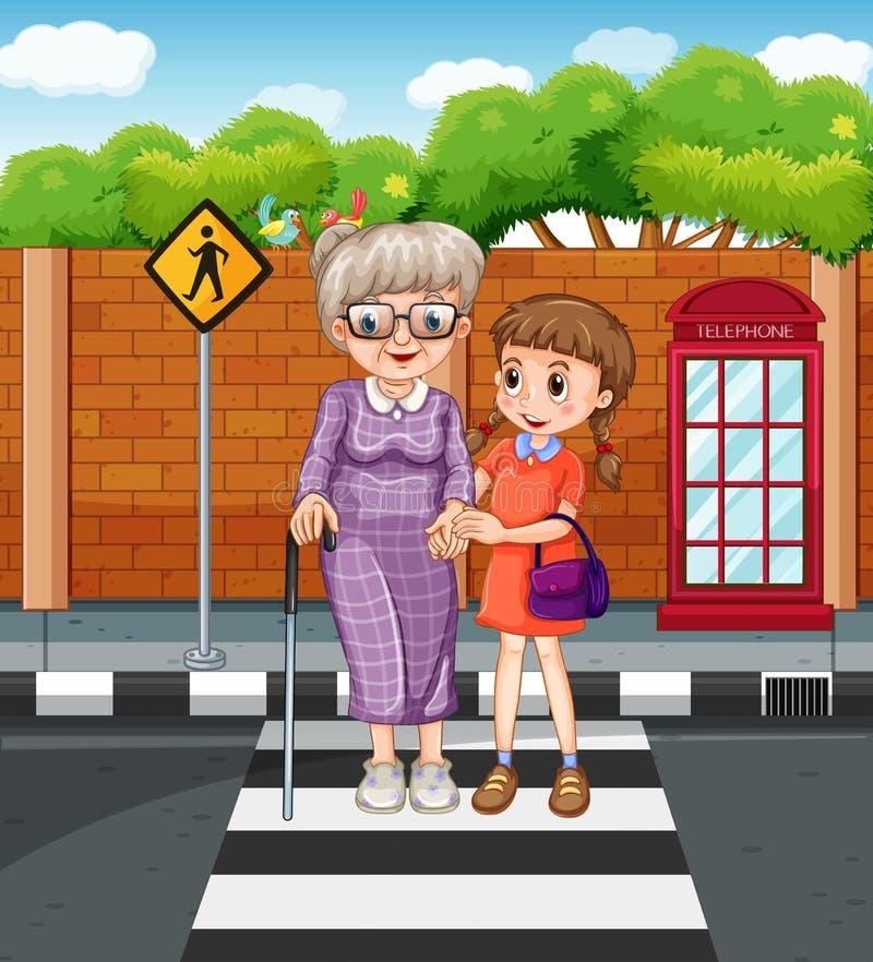 Abuela de ayuda de la muchacha que cruza la calle ilustración del vector