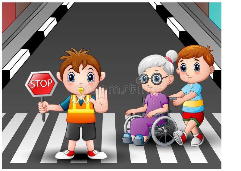 Abuela de las ayudas del flagger y del muchacho de la historieta en la silla de ruedas que cruza la calle ilustración del vector