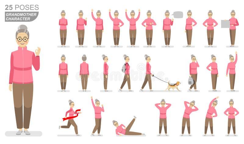 Abuela del carácter en un suéter rosado de los deportes y pantalones marrones en diversas actitudes en un fondo blanco ilustración del vector