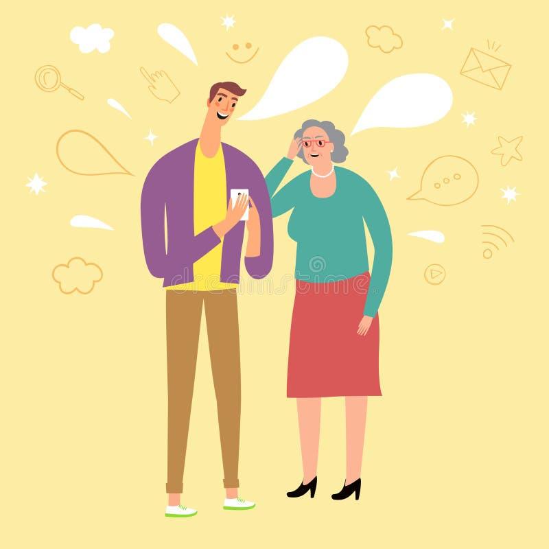 A abuela del hombre joven diciendo cómo utilizar el artilugio ilustración del vector