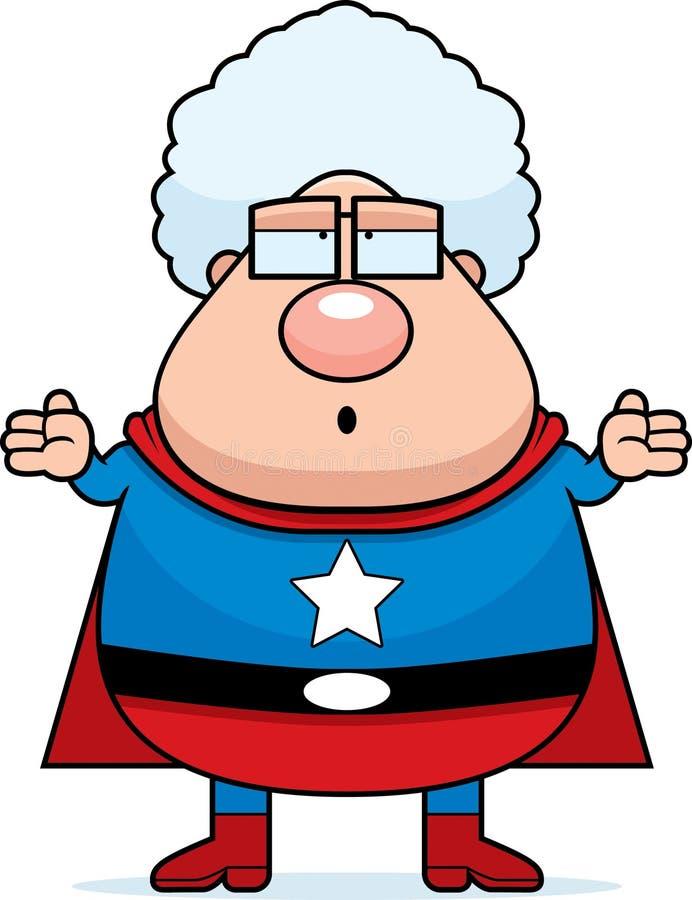 Abuela del super héroe confundida stock de ilustración