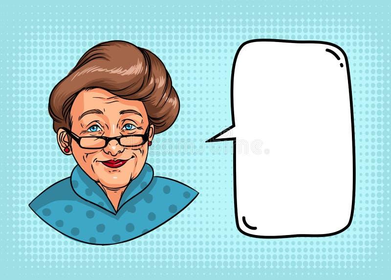Abuela elegante con el peinado retro, vidrios, lápiz labial rojo El retrato de la mujer mayor y el discurso burbujean para el tex stock de ilustración
