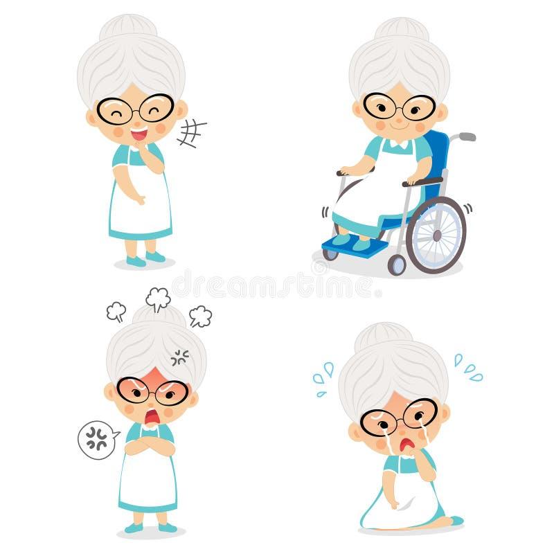 Abuela en diversas posturas y emociones de la expresión ilustración del vector