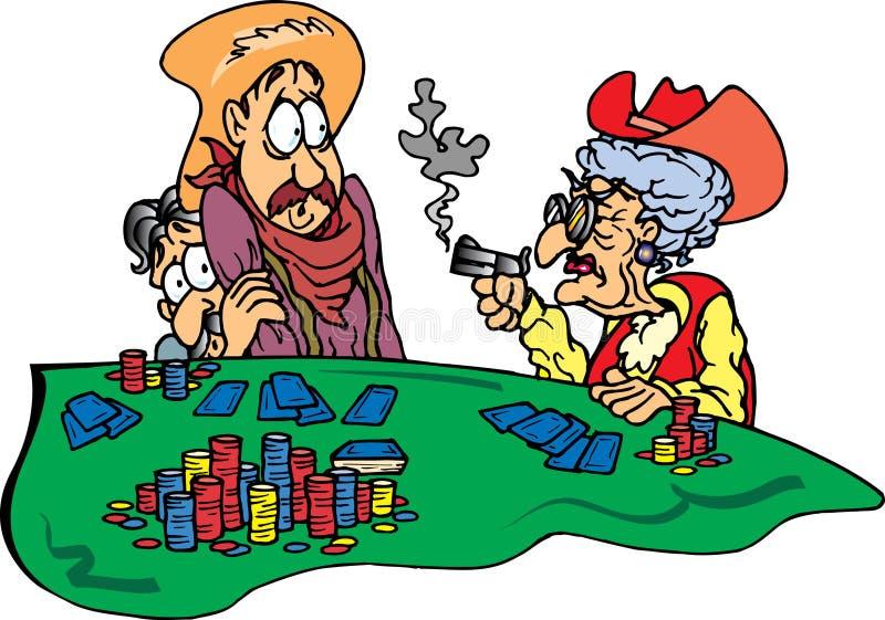 Abuela en el juego de póker stock de ilustración
