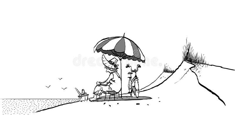 Abuela en la playa Parasol de playa Abuelita y bici Longevidad activa Abuela en comida campestre de la playa libre illustration