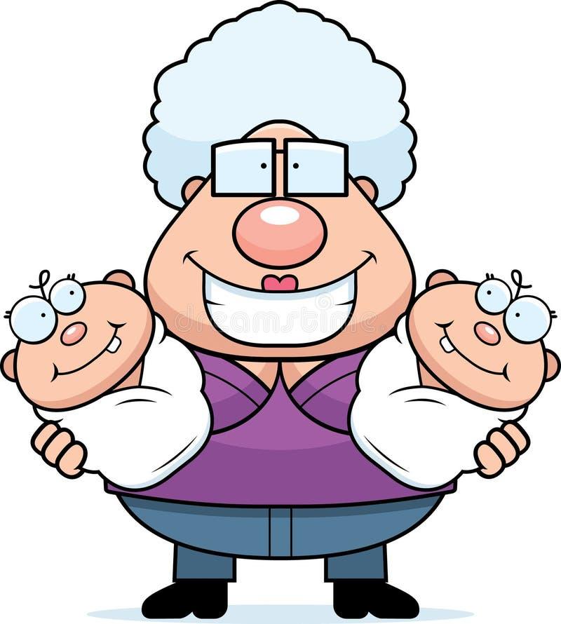 Abuela feliz de la historieta con los gemelos stock de ilustración