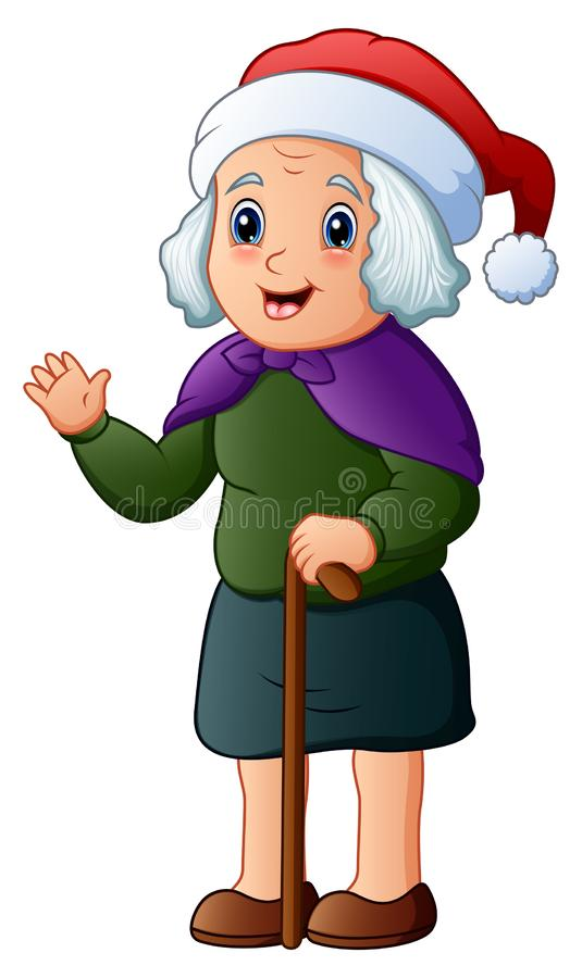 Abuela feliz que lleva el casquillo de santa stock de ilustración