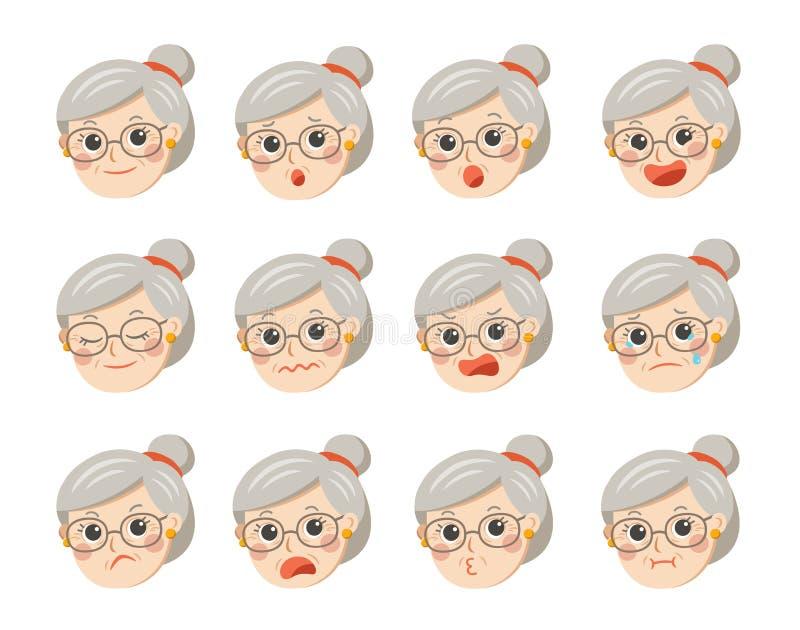 Abuela linda en vidrios con emociones faciales ilustración del vector
