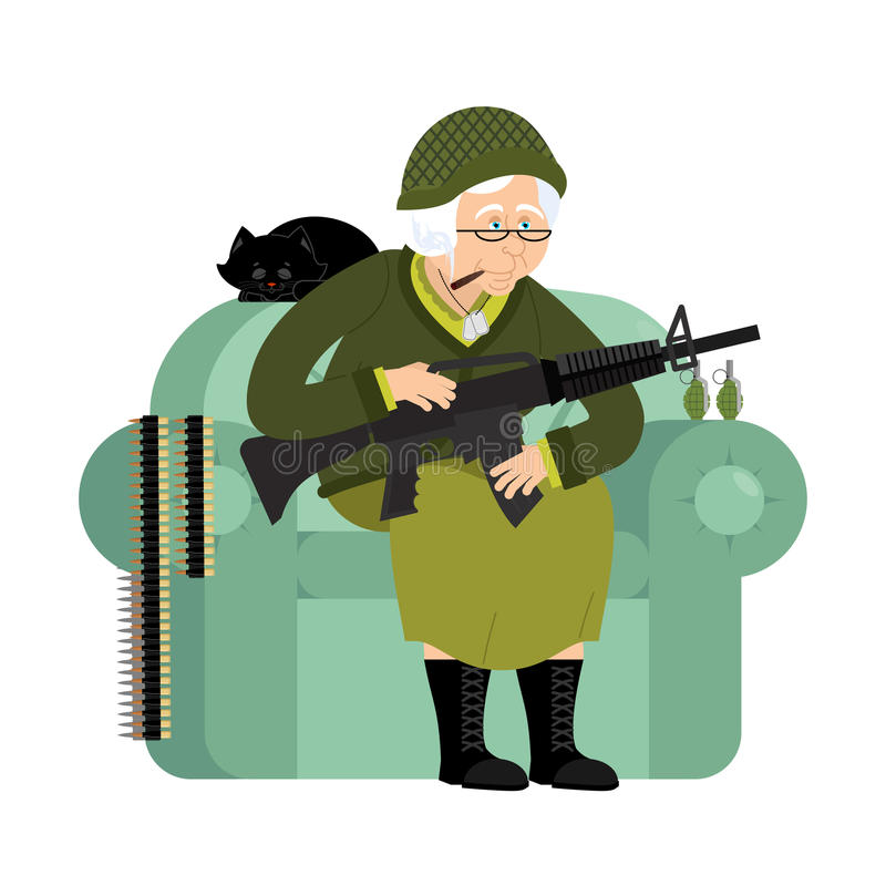 Abuela militar con el arma Mujer mayor del ejército en un ingenio de la butaca ilustración del vector