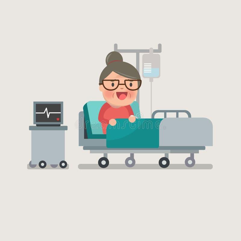 Abuela que descansa en la cama de hospital ilustración del vector
