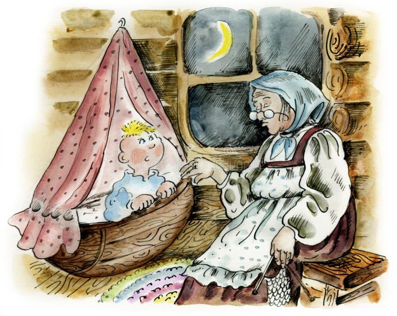 Abuela que oscila al nieto del sueño ilustración del vector