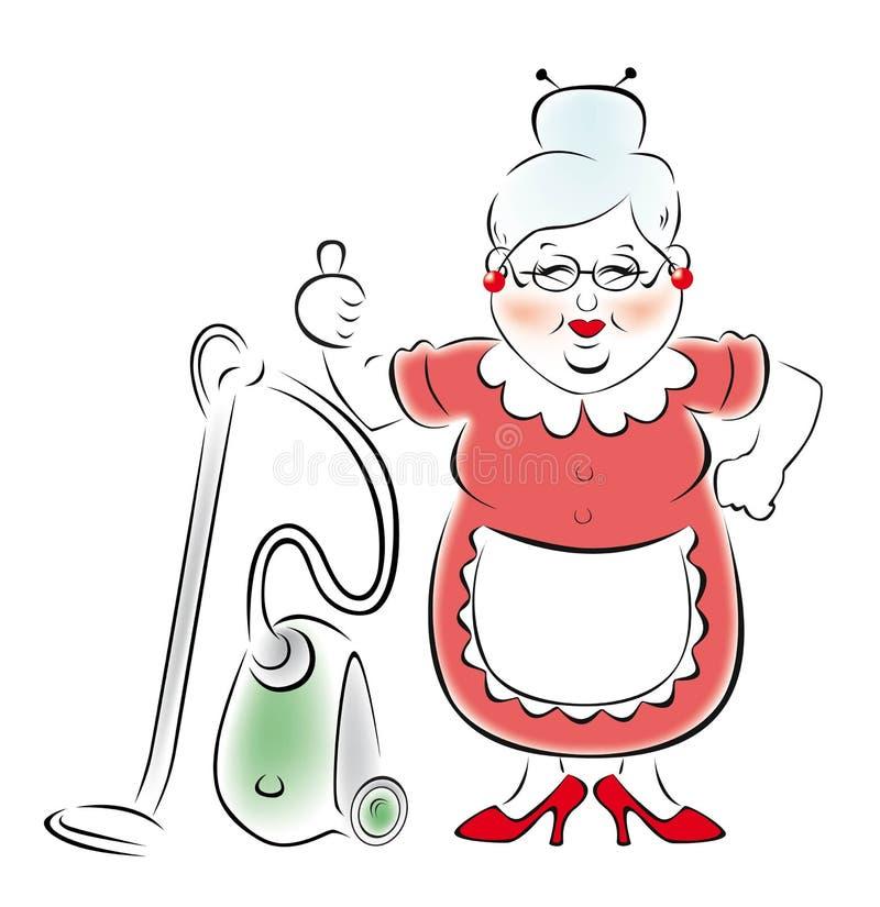 abuela sonriente con un aspirador. stock de ilustración