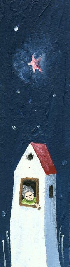 Abuela triste en la casa sola ilustración del vector