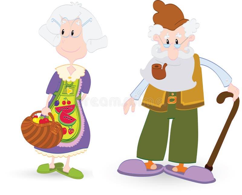 Abuela y abuelo ilustración del vector