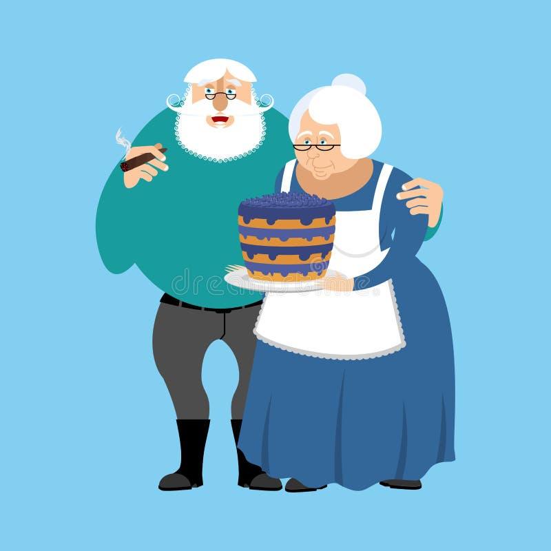 Abuela y abuelo Ejemplo del día de los abuelos Matu ilustración del vector