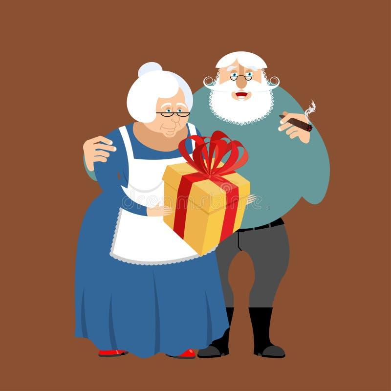 Abuela y abuelo Ejemplo del día de los abuelos Matu stock de ilustración