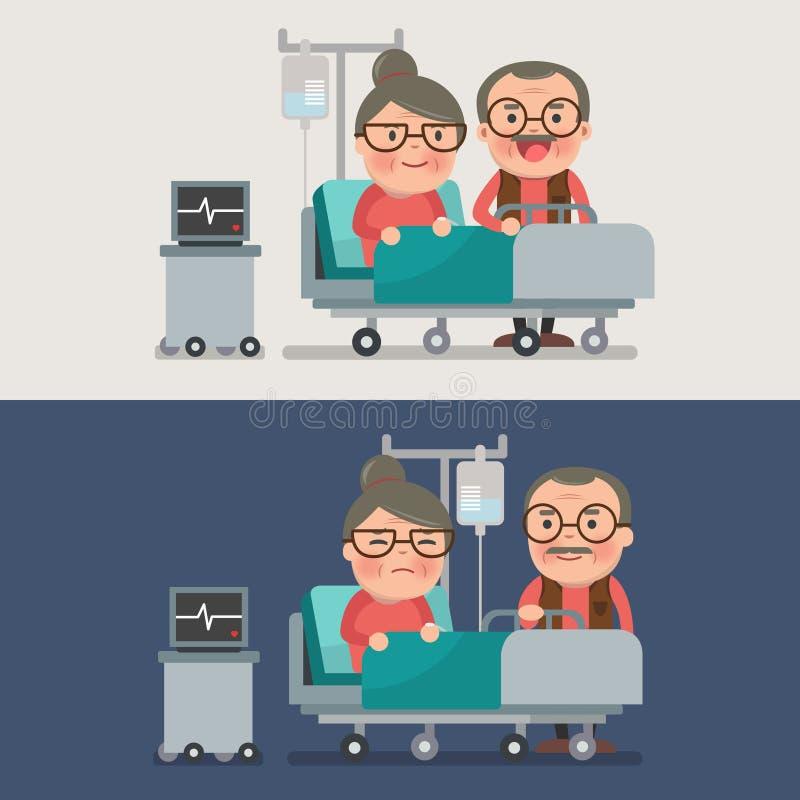 Abuela y abuelo en un cuarto de hospital libre illustration