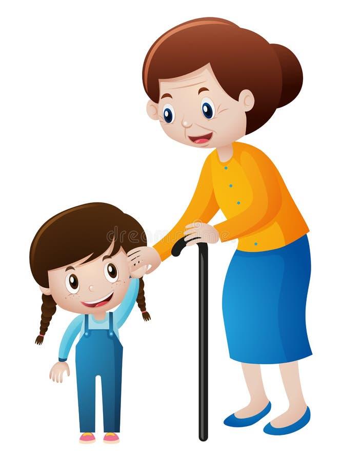 Abuela y niña que llevan a cabo las manos ilustración del vector