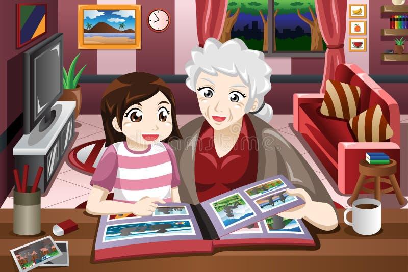 Abuela y nieta que miran el álbum de la imagen ilustración del vector
