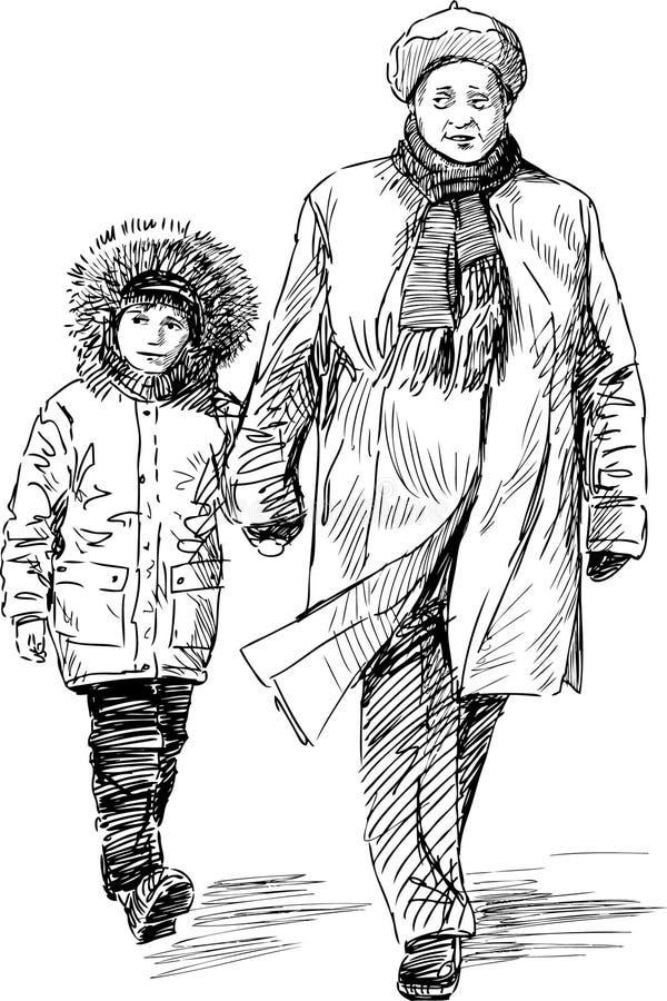 Abuela y nieto en un paseo ilustración del vector