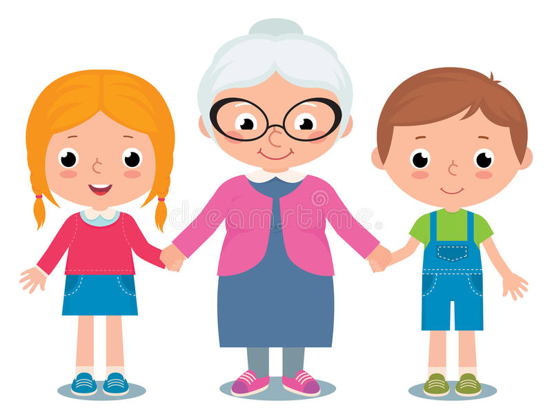Abuela y nietos, un muchacho y muchacha aislados en el fondo blanco stock de ilustración