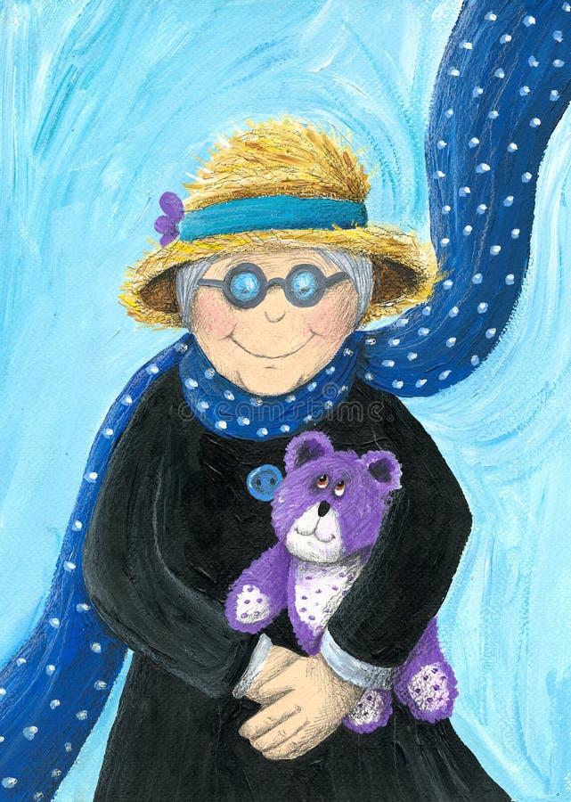 Abuelita con el oso de peluche púrpura stock de ilustración
