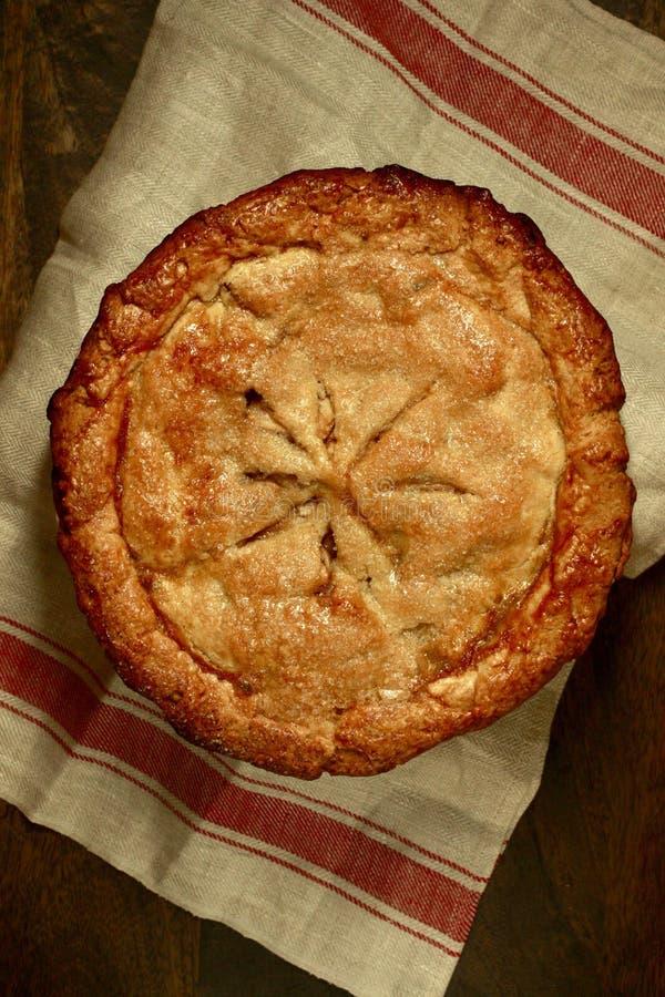 Abuelita Smith Apple Pie Overhead View fotografía de archivo