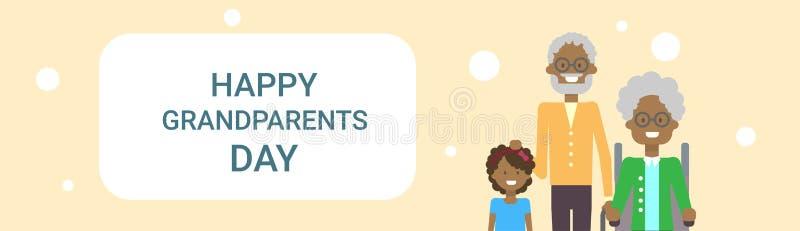 Abuelo afroamericano y abuela de los abuelos del día de felicitación de la bandera feliz de la tarjeta con el nieto junto ilustración del vector